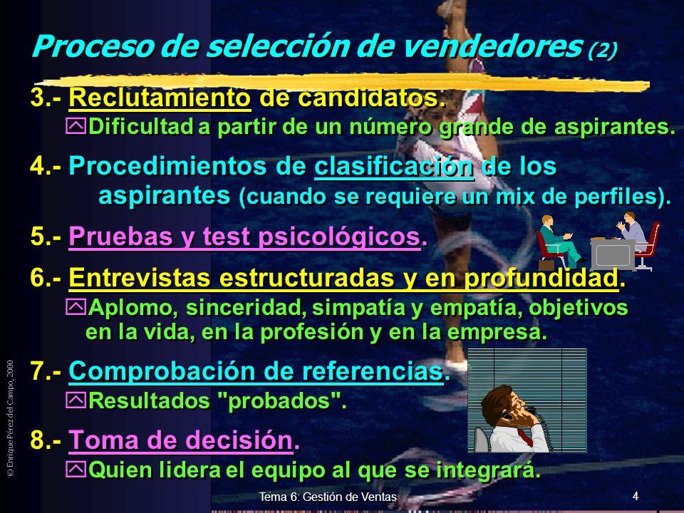 © Enrique Pérez del Campo, 2000 3 Tema 6: Gestión de Ventas Proceso de selección de vendedores. 1.- Definición del puesto. 2.- Definición del perfil d