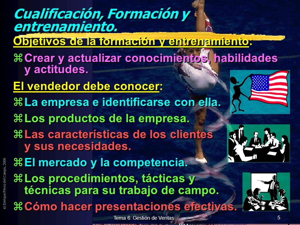 © Enrique Pérez del Campo, 2000 4 Tema 6: Gestión de Ventas Proceso de selección de vendedores (2) 3.- Reclutamiento de candidatos. yDificultad a part