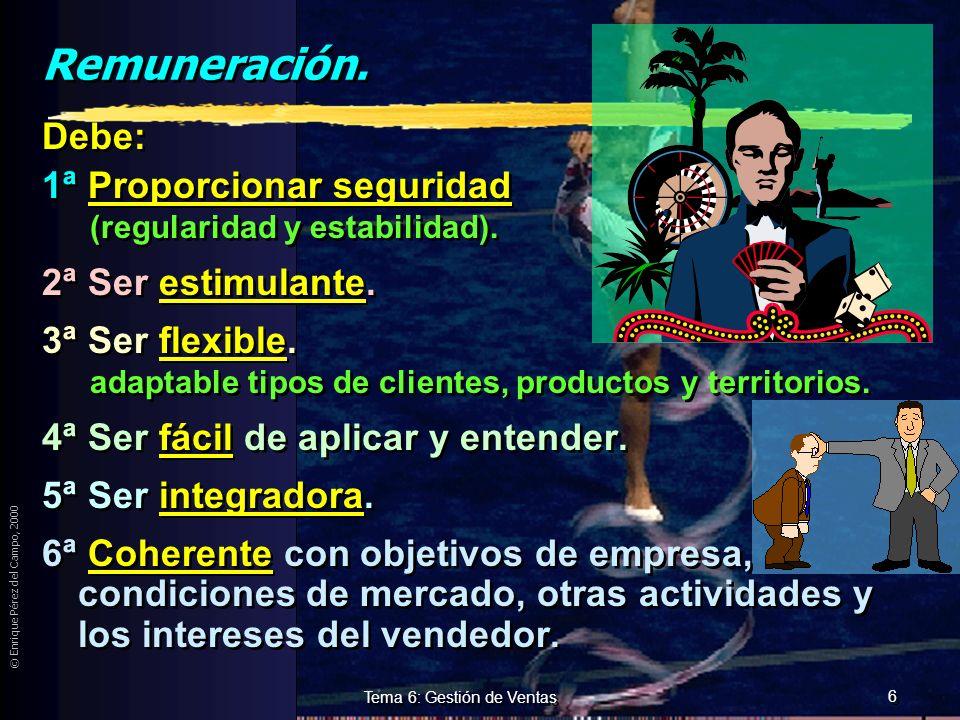 © Enrique Pérez del Campo, 2000 5 Tema 6: Gestión de Ventas Cualificación, Formación y entrenamiento. Objetivos de la formación y entrenamiento: zCrea