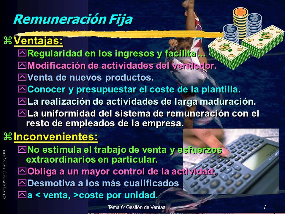 © Enrique Pérez del Campo, 2000 6 Tema 6: Gestión de Ventas Remuneración. Debe: 1ª Proporcionar seguridad (regularidad y estabilidad). 2ª Ser estimula