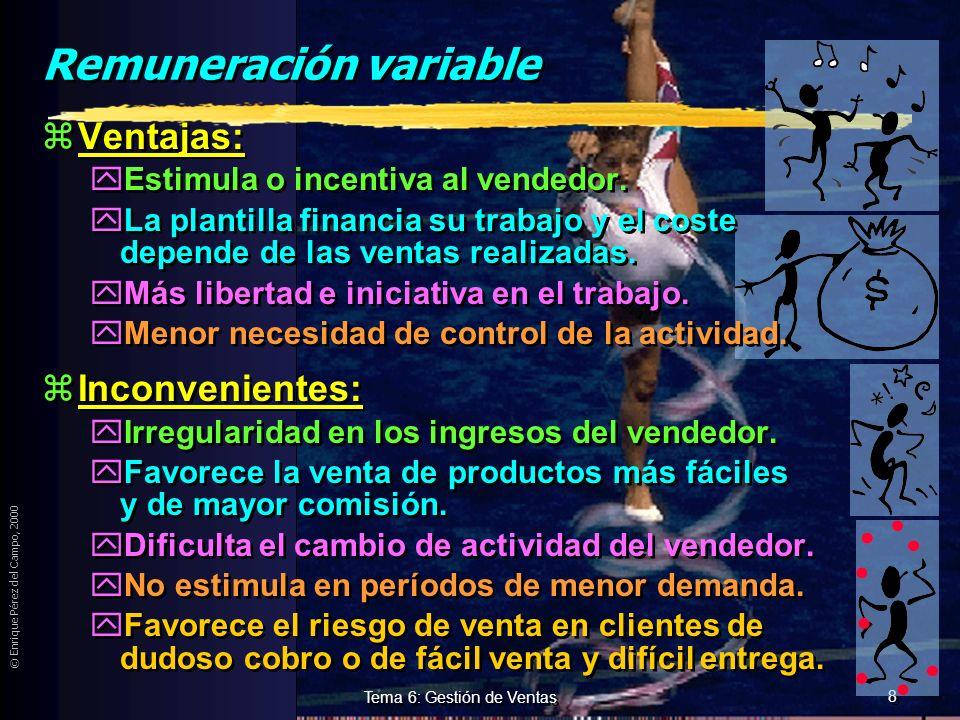 © Enrique Pérez del Campo, 2000 7 Tema 6: Gestión de Ventas Remuneración Fija zVentajas: yRegularidad en los ingresos y facilita... yModificación de a