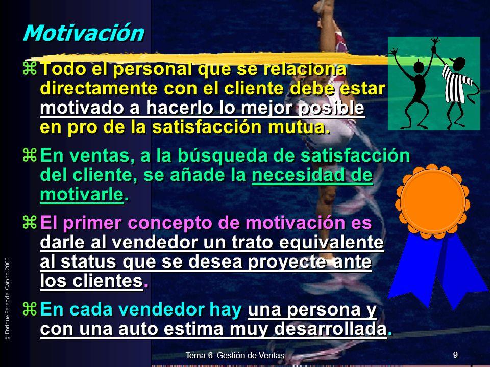 © Enrique Pérez del Campo, 2000 8 Tema 6: Gestión de Ventas Remuneración variable zVentajas: yEstimula o incentiva al vendedor. yLa plantilla financia