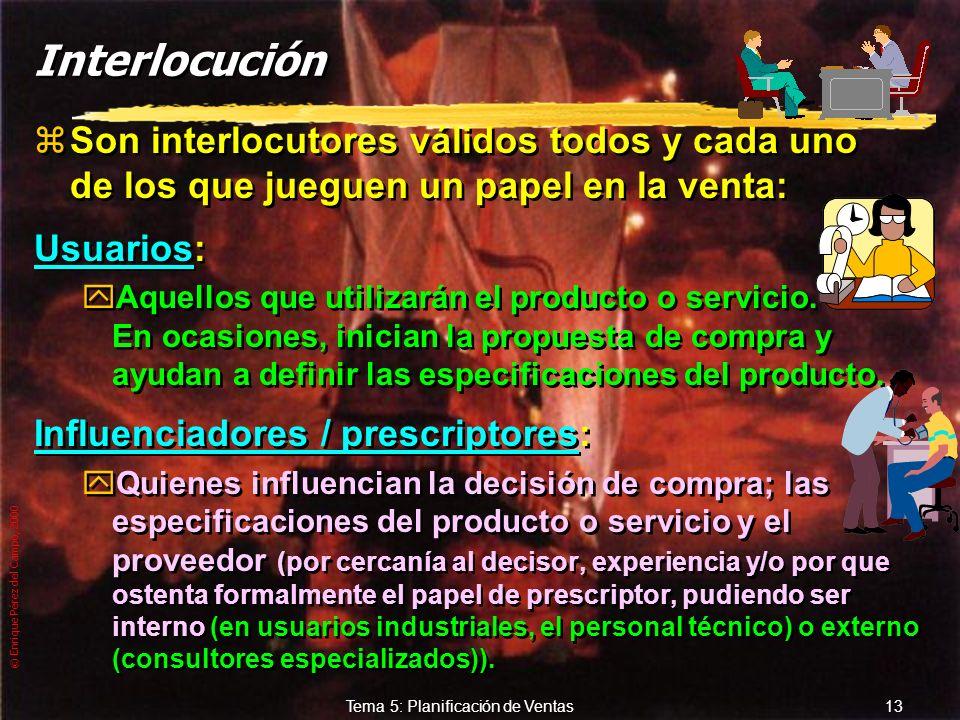 © Enrique Pérez del Campo, 2000 12 Tema 5: Planificación de Ventas De pos venta: zLas que se realizan con posterioridad y en relación con la venta rea