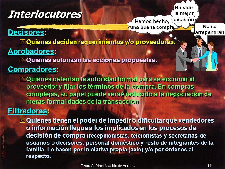 © Enrique Pérez del Campo, 2000 13 Tema 5: Planificación de Ventas Interlocución zSon interlocutores válidos todos y cada uno de los que jueguen un pa