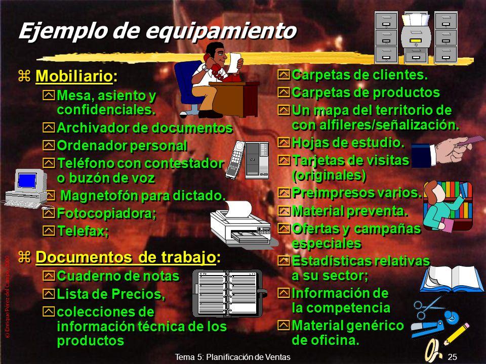 © Enrique Pérez del Campo, 2000 24 Tema 5: Planificación de Ventas 5. 5. Equipamiento de la fuerza de ventas Dotación material y documental necesaria