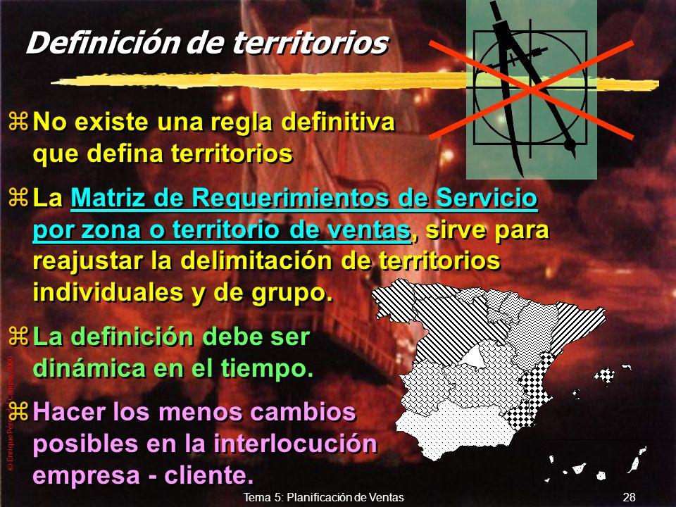 © Enrique Pérez del Campo, 2000 27 Tema 5: Planificación de Ventas Determinación, asignación y evaluación de territorios de venta zEs la delimitación