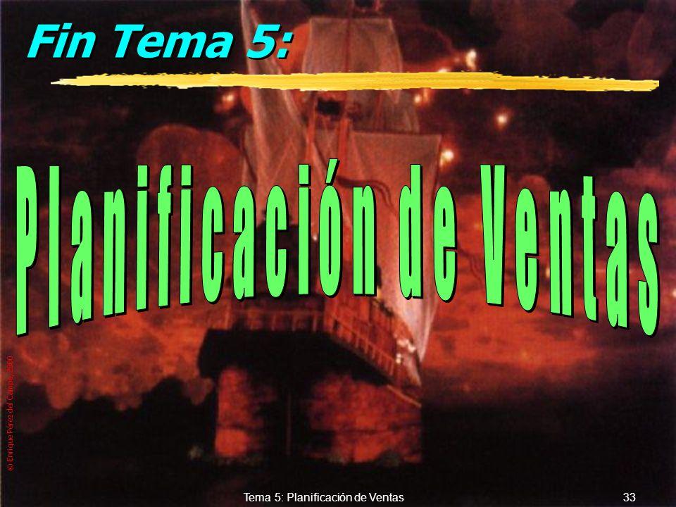 © Enrique Pérez del Campo, 2000 32 Tema 5: Planificación de Ventas c.- Series temporales...... zMétodos simples y medias móviles (desde estimación = o