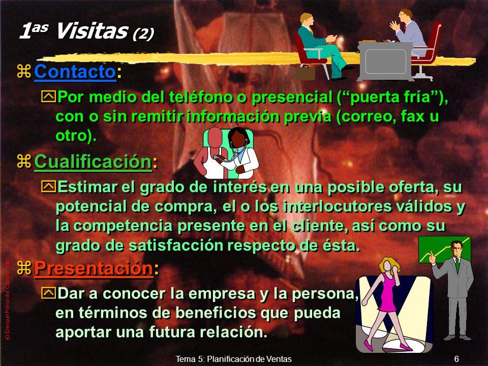 © Enrique Pérez del Campo, 2000 5 Tema 5: Planificación de Ventas Tipos de visitas... zPrimeras visitas: yAquellas que se realizan por primera vez a u