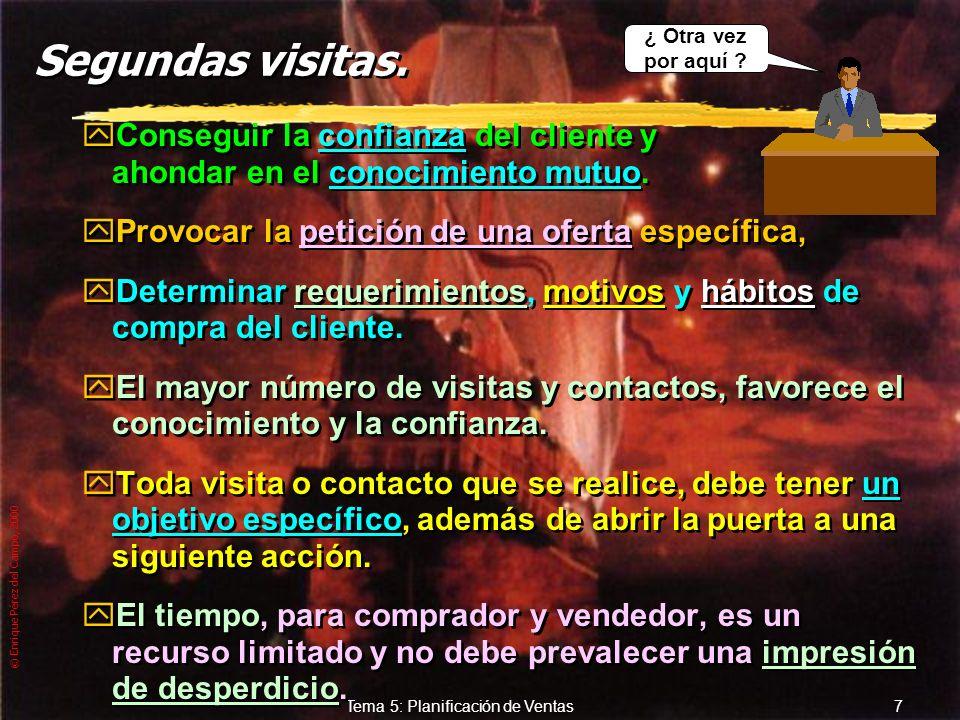 © Enrique Pérez del Campo, 2000 6 Tema 5: Planificación de Ventas 1 as Visitas (2) zContacto: yPor medio del teléfono o presencial (puerta fría), con