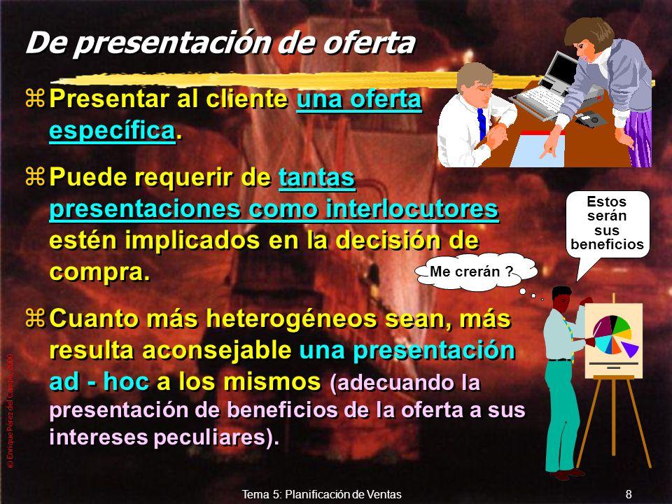 © Enrique Pérez del Campo, 2000 7 Tema 5: Planificación de Ventas Segundas visitas. yConseguir la confianza del cliente y ahondar en el conocimiento m