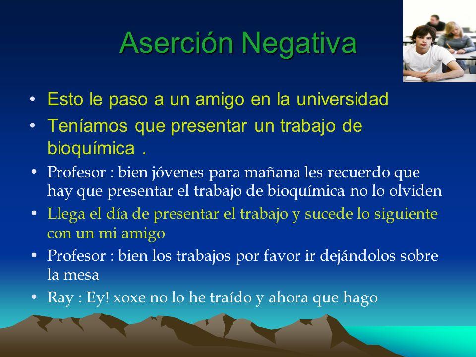 Aserción Negativa Xoxe : pues amigo estas en un gran aprieto Profesor : Ray donde esta su trabajo .