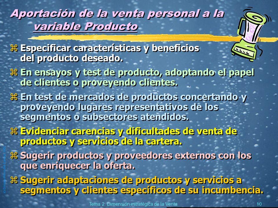 © Enrique Pérez del Campo, 2000 9 Tema 2: Dimensión estratégica de la Venta Supuestos de especial importancia relativa de la venta personal (3) zPor r