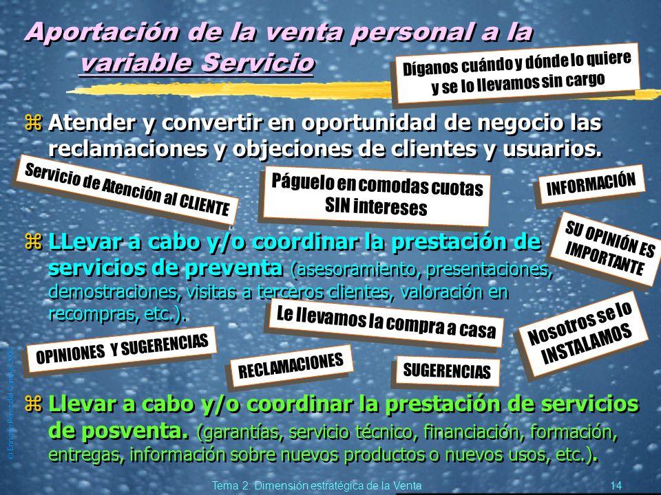 © Enrique Pérez del Campo, 2000 13 Tema 2: Dimensión estratégica de la Venta Aportación de la venta personal a la variable Distribución zVender al esl