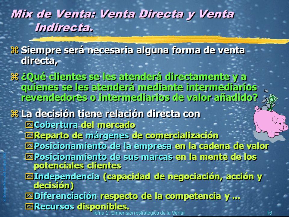 © Enrique Pérez del Campo, 2000 15 Tema 2: Dimensión estratégica de la Venta Aportación de la venta personal a la Investigación comercial zRecoger y t