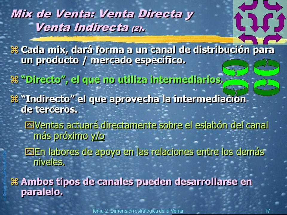 © Enrique Pérez del Campo, 2000 16 Tema 2: Dimensión estratégica de la Venta Mix de Venta: Venta Directa y Venta Indirecta. zSiempre será necesaria al