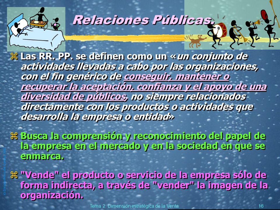 © Enrique Pérez del Campo, 2000 17 Tema 2: Dimensión estratégica de la Venta Mix de Venta: Venta Directa y Venta Indirecta (2). zCada mix, dará forma