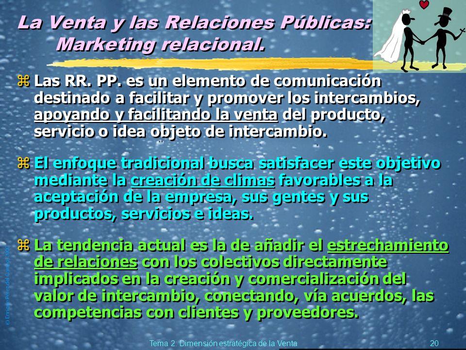© Enrique Pérez del Campo, 2000 19 Tema 2: Dimensión estratégica de la Venta Relaciones Públicas. (2) zPuede dirigirse a públicos no relacionados con