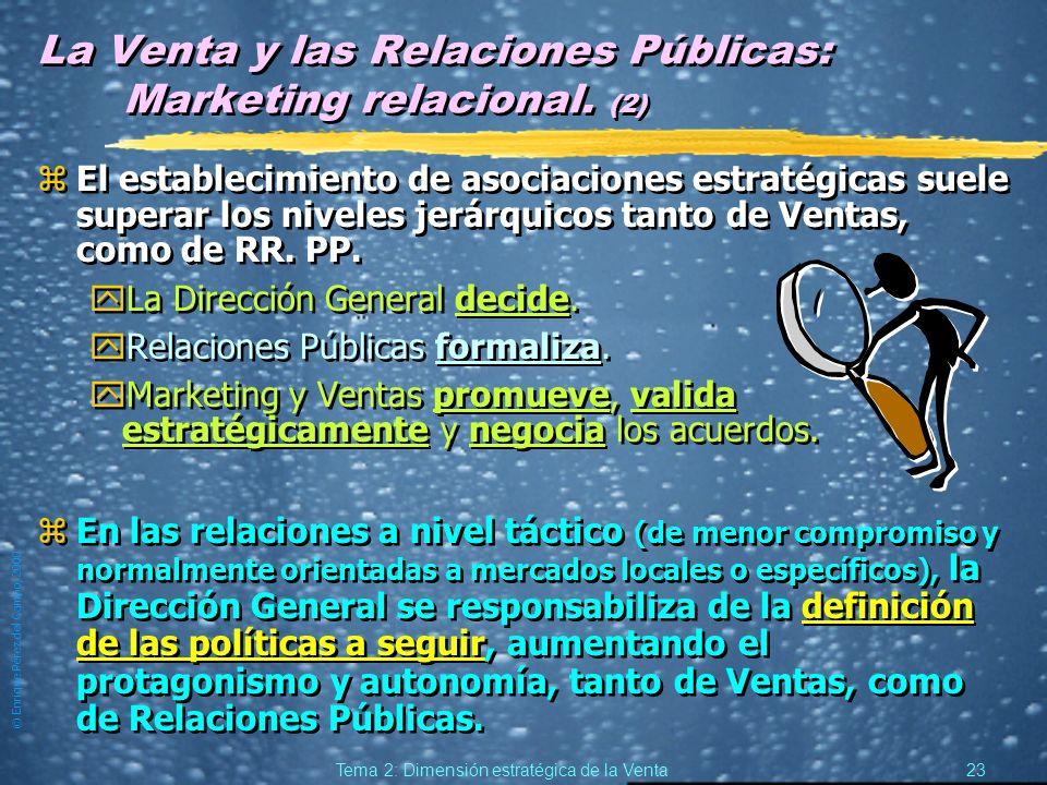 © Enrique Pérez del Campo, 2000 22 Tema 2: Dimensión estratégica de la Venta Ventas y Marketing relacional. (2) Respecto a la fuerza de ventas: zSe su