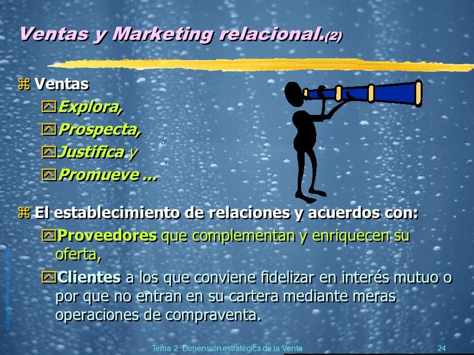 © Enrique Pérez del Campo, 2000 23 Tema 2: Dimensión estratégica de la Venta La Venta y las Relaciones Públicas: Marketing relacional. (2) zEl estable