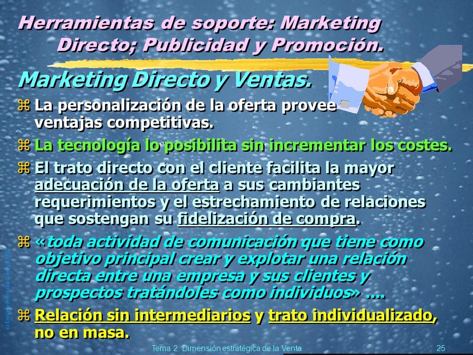 © Enrique Pérez del Campo, 2000 24 Tema 2: Dimensión estratégica de la Venta Ventas y Marketing relacional. (2) zVentas yExplora, yProspecta, yJustifi