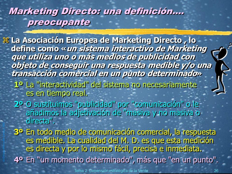 © Enrique Pérez del Campo, 2000 25 Tema 2: Dimensión estratégica de la Venta Herramientas de soporte: Marketing Directo; Publicidad y Promoción. Marke
