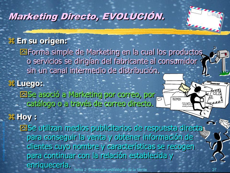 © Enrique Pérez del Campo, 2000 26 Tema 2: Dimensión estratégica de la Venta Marketing Directo: una definición.... preocupante zLa Asociación Europea
