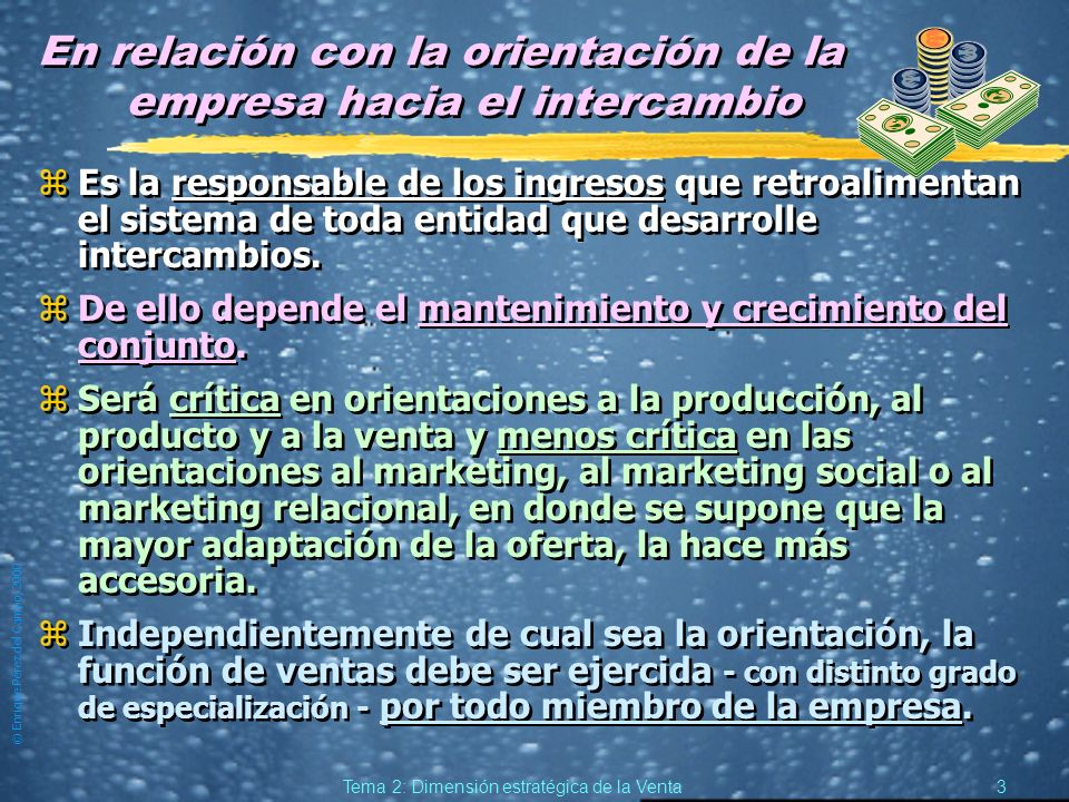 © Enrique Pérez del Campo, 2000 2 Tema 2: Dimensión estratégica de la Venta 1.1.La Venta en la Empresa. zComo elemento de contacto directo con el comp
