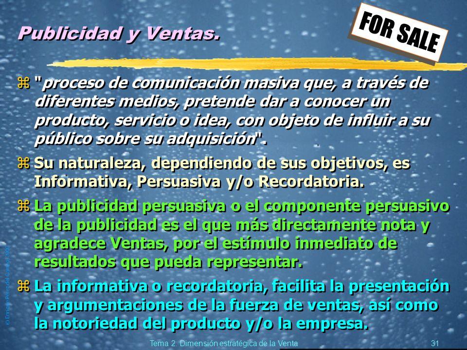 © Enrique Pérez del Campo, 2000 30 Tema 2: Dimensión estratégica de la Venta Marketing Directo, formas zVenta puerta a puerta. zReuniones en domicilio