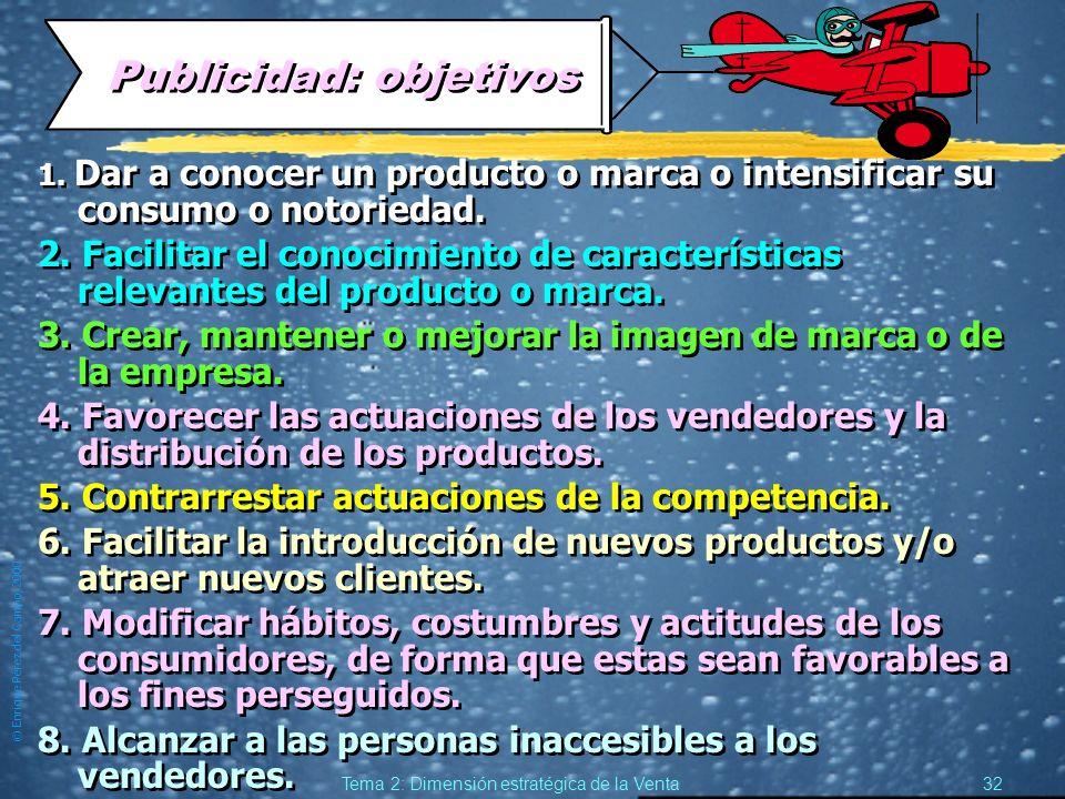 © Enrique Pérez del Campo, 2000 31 Tema 2: Dimensión estratégica de la Venta Publicidad y Ventas. z