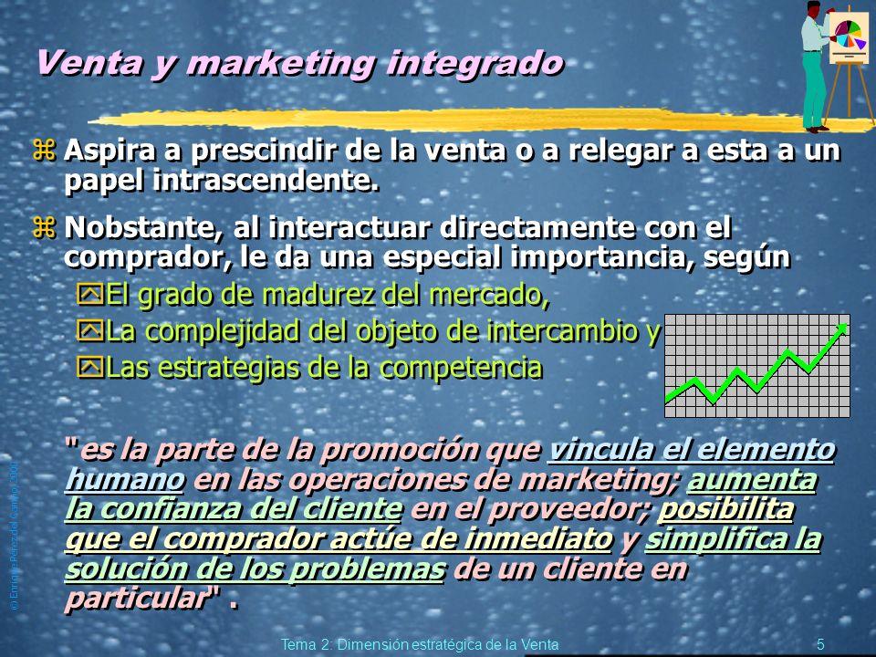 © Enrique Pérez del Campo, 2000 4 Tema 2: Dimensión estratégica de la Venta La Venta en la estrategia de Marketing. zEs un instrumento de la estrategi