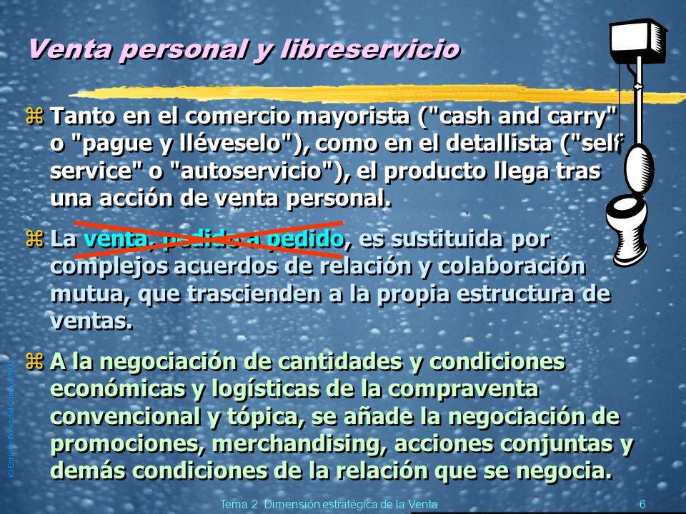 © Enrique Pérez del Campo, 2000 5 Tema 2: Dimensión estratégica de la Venta Venta y marketing integrado zAspira a prescindir de la venta o a relegar a
