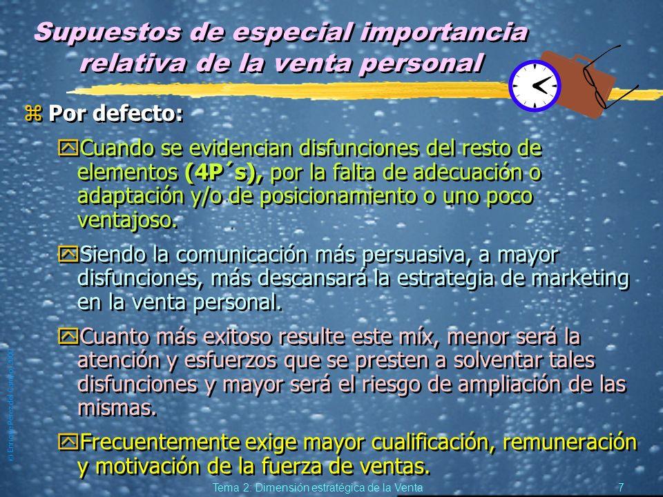 © Enrique Pérez del Campo, 2000 6 Tema 2: Dimensión estratégica de la Venta Venta personal y libreservicio zTanto en el comercio mayorista (