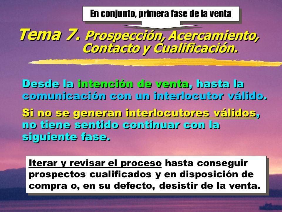 © Enrique Pérez del Campo, 2000 21 Tema 7:Prospección, Acercamiento, Contacto y Cualificación.
