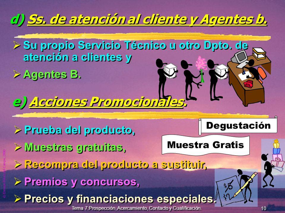 © Enrique Pérez del Campo, 2000 9 Tema 7:Prospección, Acercamiento, Contacto y Cualificación. c) Red de avisadores. Cada vendedor debe seleccionar, mo