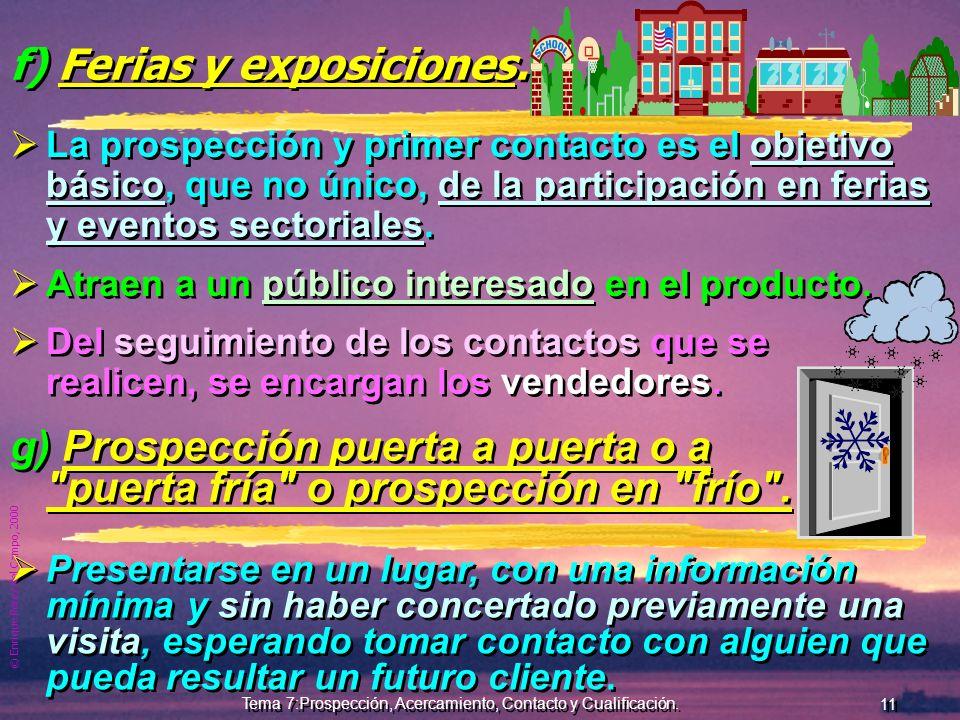 © Enrique Pérez del Campo, 2000 10 Tema 7:Prospección, Acercamiento, Contacto y Cualificación. d) Ss. de atención al cliente y Agentes b. Su propio Se