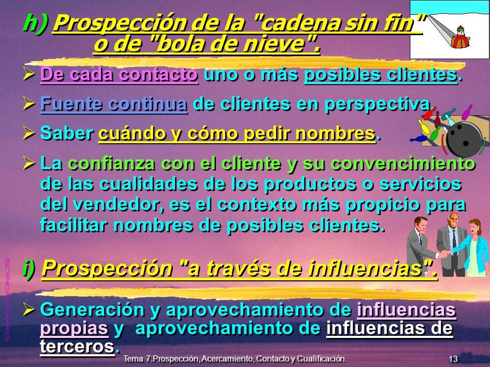 © Enrique Pérez del Campo, 2000 12 Tema 7:Prospección, Acercamiento, Contacto y Cualificación. g) Prospección a