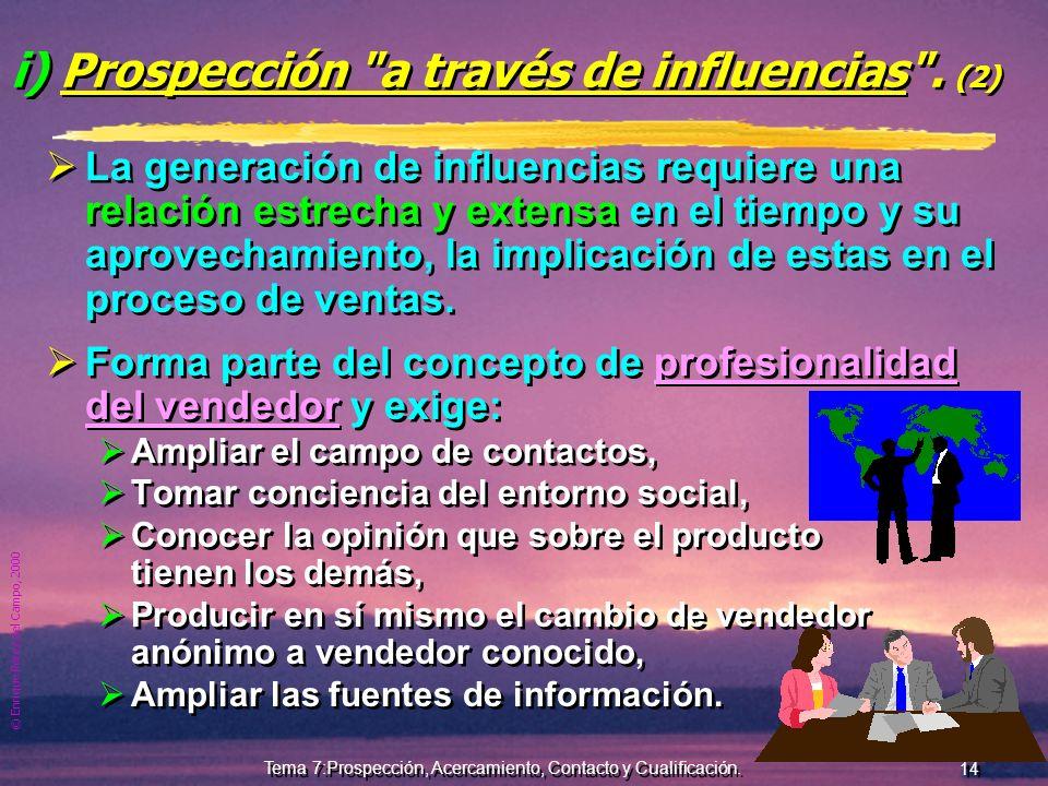 © Enrique Pérez del Campo, 2000 13 Tema 7:Prospección, Acercamiento, Contacto y Cualificación. h) Prospección de la