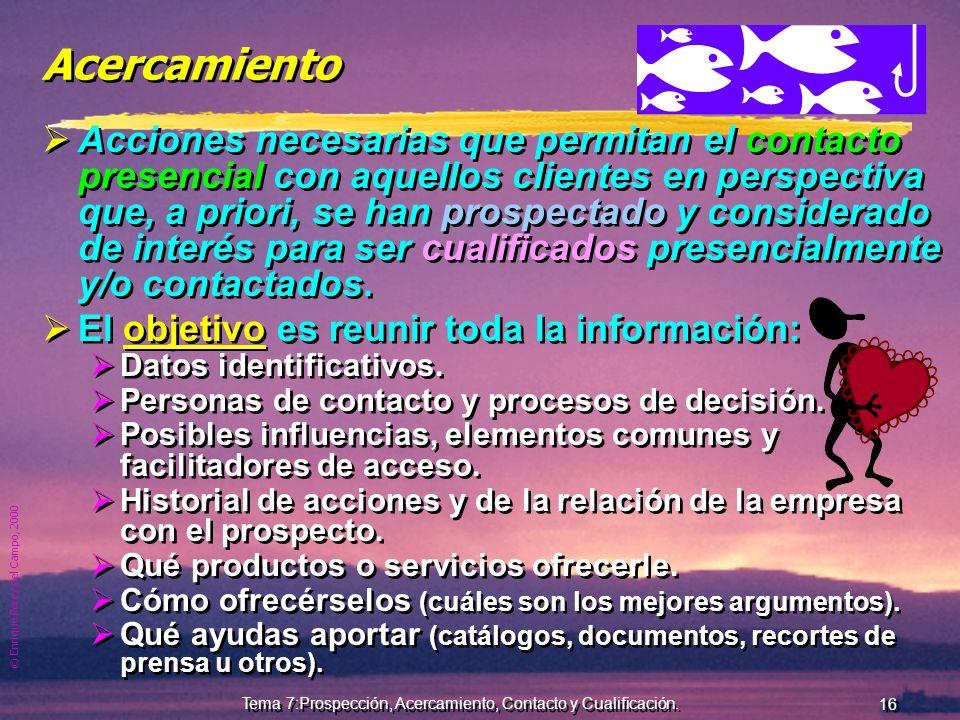 © Enrique Pérez del Campo, 2000 15 Tema 7:Prospección, Acercamiento, Contacto y Cualificación. Fuentes de Prospección Indirectas a) Bases de datos com