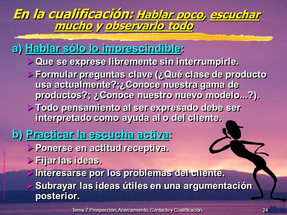 © Enrique Pérez del Campo, 2000 23 Tema 7:Prospección, Acercamiento, Contacto y Cualificación. Técnica de preguntas Objetivo: que el cliente hable y c