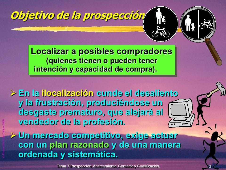 © Enrique Pérez del Campo, 2000 2 Tema 7:Prospección, Acercamiento, Contacto y Cualificación. Prospección... La primera tarea! La prospección, debe fo