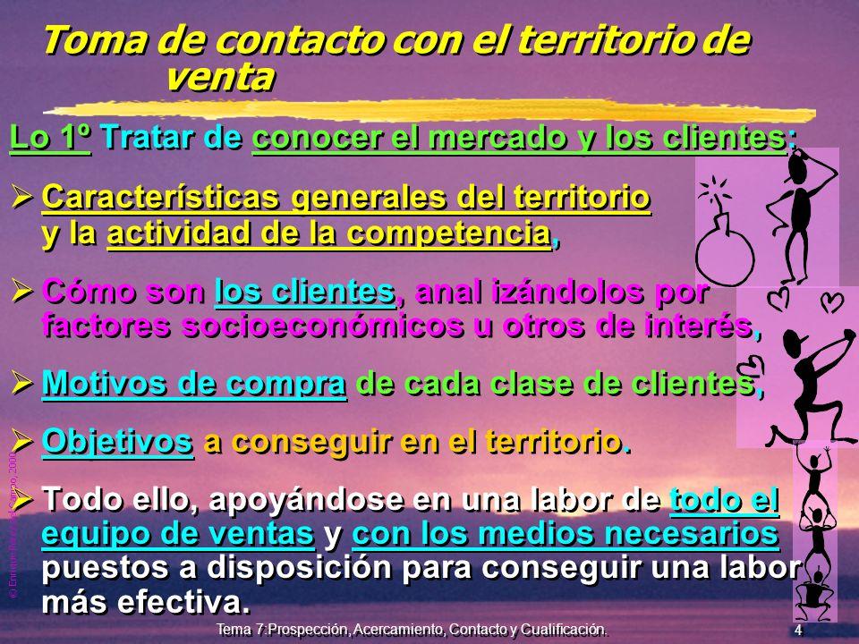© Enrique Pérez del Campo, 2000 3 Tema 7:Prospección, Acercamiento, Contacto y Cualificación. Objetivo de la prospección En la ilocalización cunde el