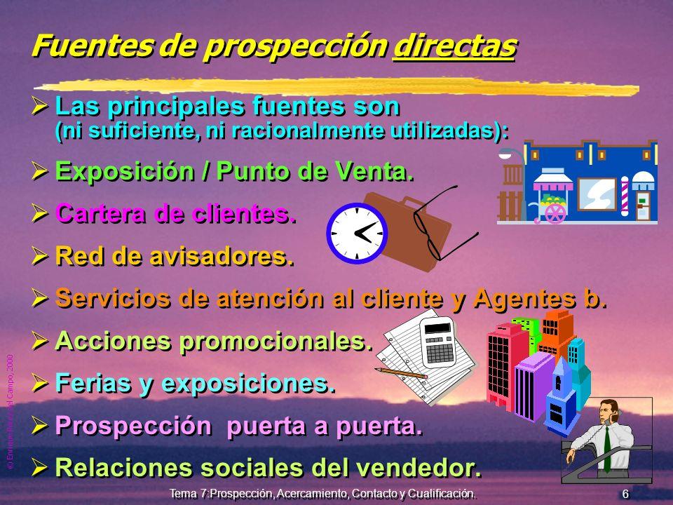 © Enrique Pérez del Campo, 2000 5 Tema 7:Prospección, Acercamiento, Contacto y Cualificación. Organización del trabajo Importante por elevado coste de