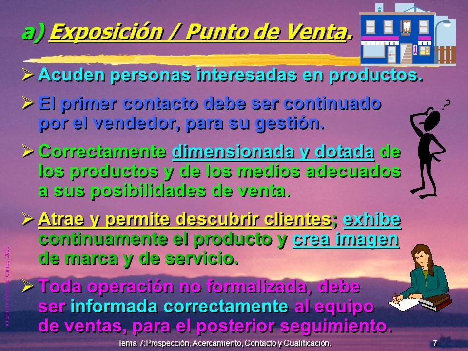 © Enrique Pérez del Campo, 2000 6 Tema 7:Prospección, Acercamiento, Contacto y Cualificación. Fuentes de prospección directas Las principales fuentes