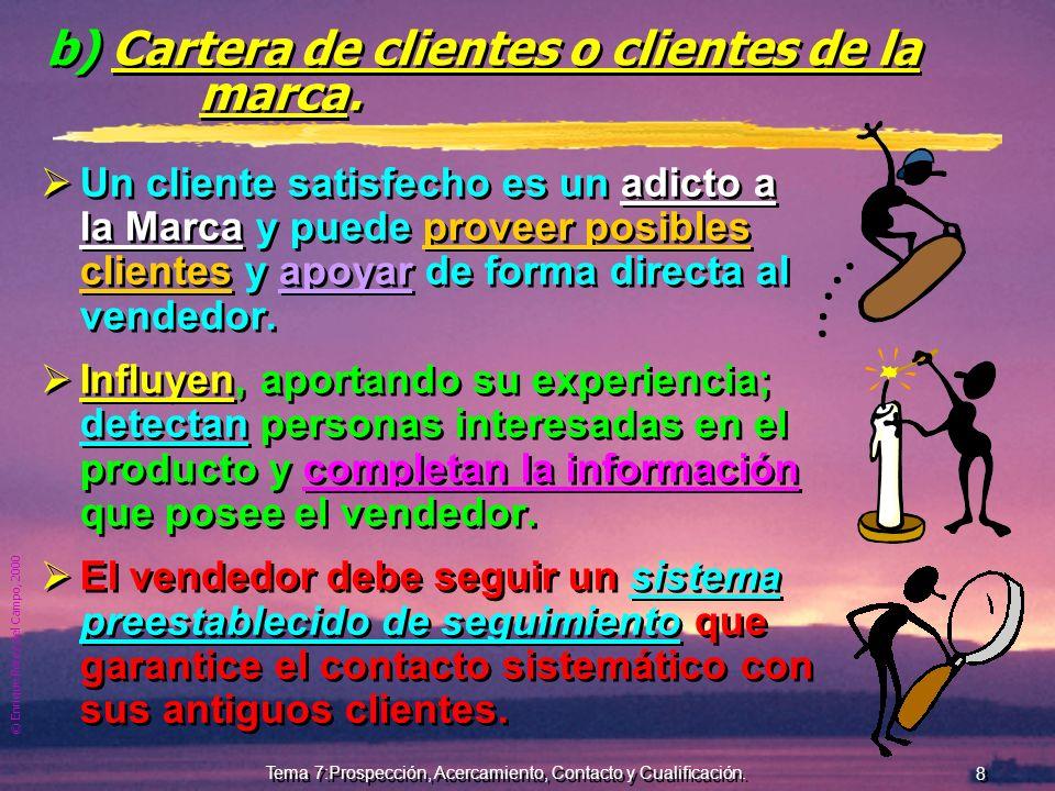 © Enrique Pérez del Campo, 2000 8 Tema 7:Prospección, Acercamiento, Contacto y Cualificación.