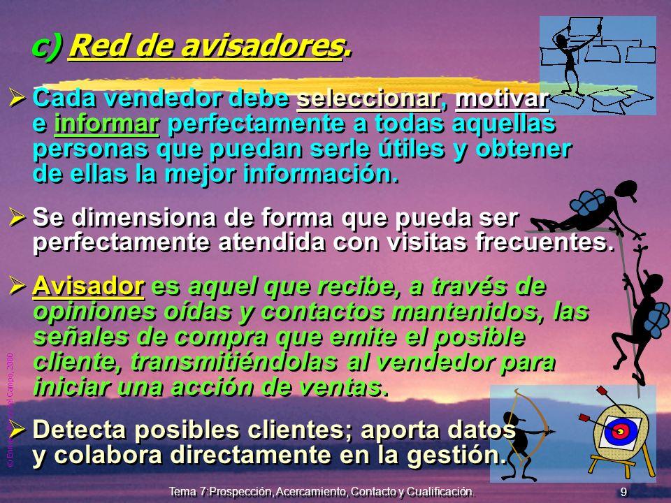 © Enrique Pérez del Campo, 2000 8 Tema 7:Prospección, Acercamiento, Contacto y Cualificación. b) Cartera de clientes o clientes de la marca. Un client