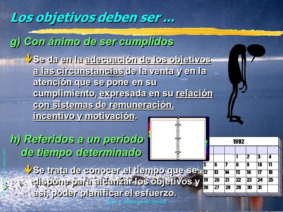 © Enrique Pérez del Campo, 2000 9 Tema 4: Objetivos de Ventas Los objetivos deben ser... f) Razonables êAlcanzables, de acuerdo con los recursos dispo