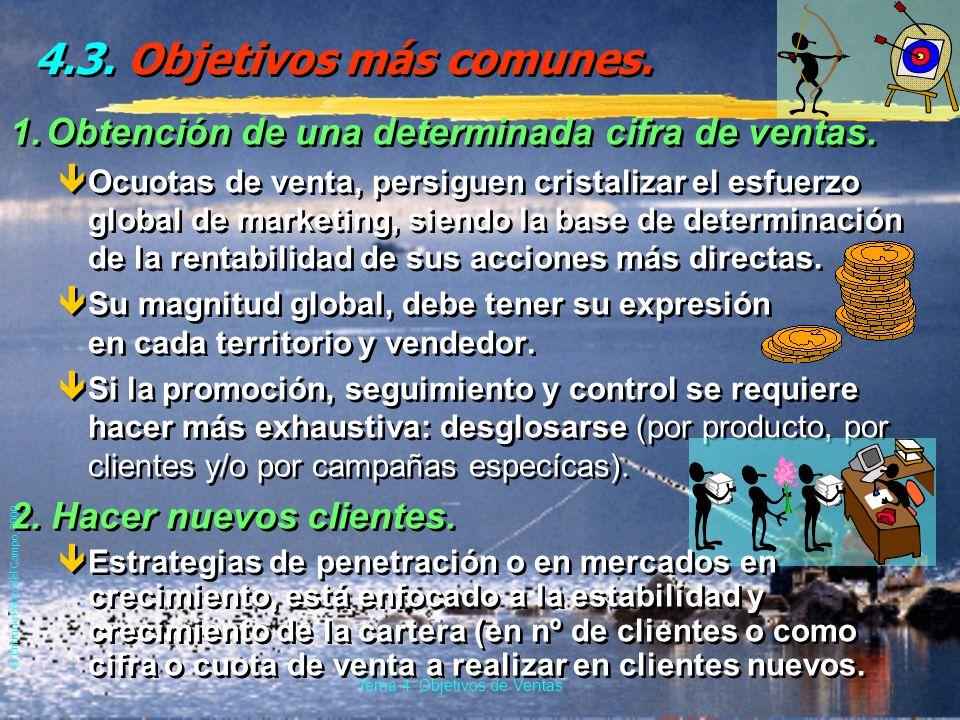 © Enrique Pérez del Campo, 2000 10 Tema 4: Objetivos de Ventas Los objetivos deben ser... g) Con ánimo de ser cumplidos êSe da en la adecuación de los