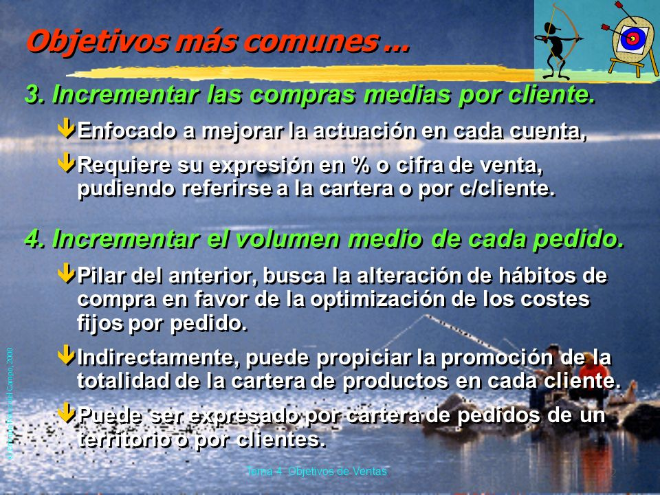 © Enrique Pérez del Campo, 2000 11 Tema 4: Objetivos de Ventas 4.3. Objetivos más comunes. 1.Obtención de una determinada cifra de ventas. êOcuotas de