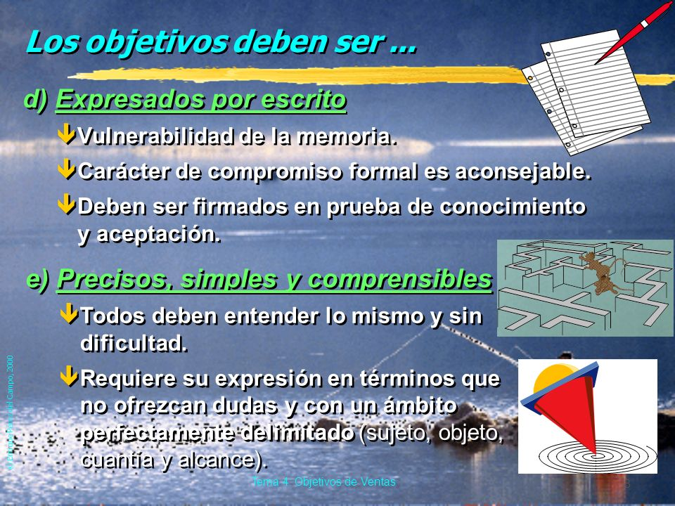 © Enrique Pérez del Campo, 2000 8 Tema 4: Objetivos de Ventas Los objetivos deben ser...