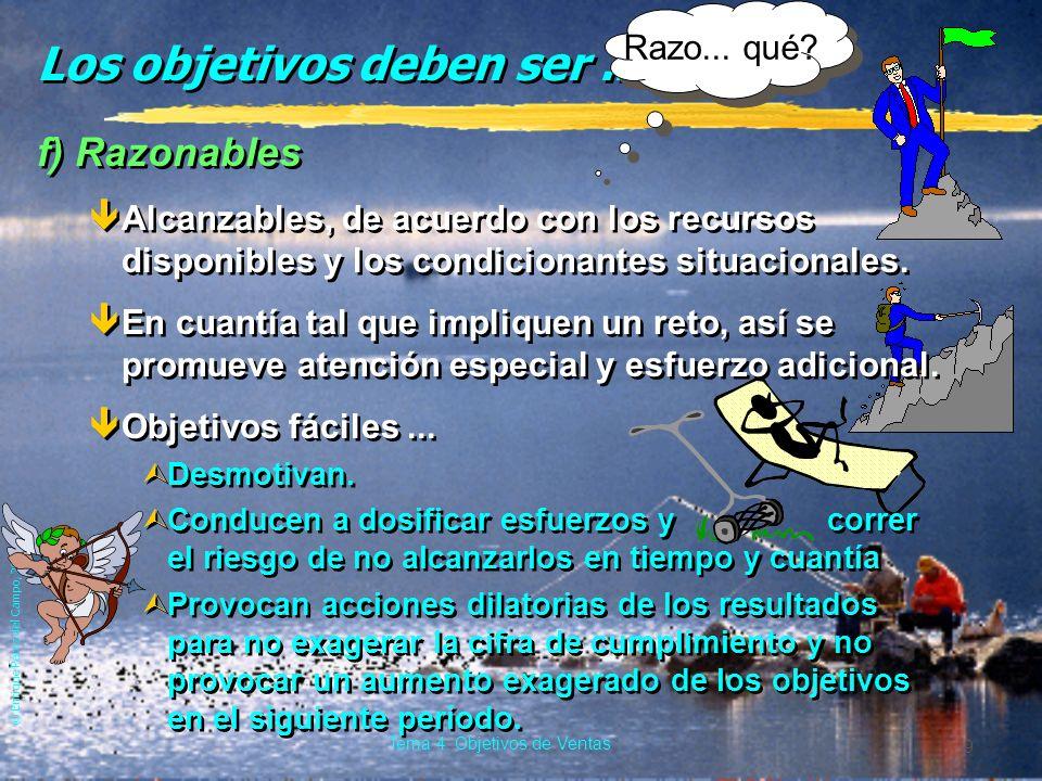 © Enrique Pérez del Campo, 2000 9 Tema 4: Objetivos de Ventas Los objetivos deben ser...
